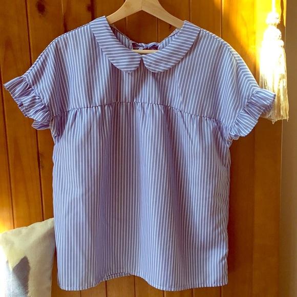 751ff3f51828 Peter Pan collar short sleeve babydoll blouse. M_5b5c84488158b56f9976dac2